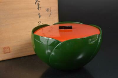 S8315: Japanese Wooden Lacquer ware Kashiki CAKE BOX/Confectionery w/signed box