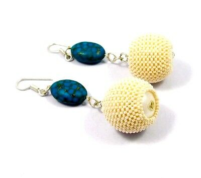 Vintage Style Turquoise & White Beads Designer Earrings Jewelry W7 (34)