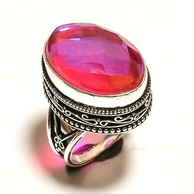 Charming Mystic Topaz Quartz Silver Carving Jewelry Ring Size 7.75 JA654
