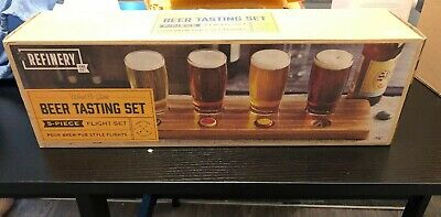 New Beer Tasting Flight Set With 4 Glasses And Wooden Carved Tray