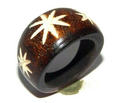 100% Natural Bone Designer Carving Handmade Fashion Jewelry Ring Size 9 R429