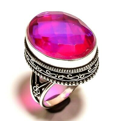Charming Mystic Topaz Quartz Silver Carving Jewelry Ring Size 7.50 JA653