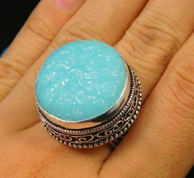Charming Chalcedony Silver Carving Jewelry Ring Size 7.75 JC1643