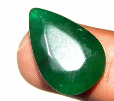 Dyed  Faceted Beryl Emerald Top Cabochon Loose Gemstone 11 ct 21x13 F68