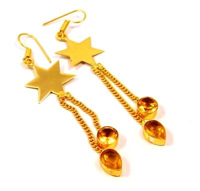 Faceted Citrine .925 Gold Chain Style Splendid Earrings Jewelry MJT968-MJT1007