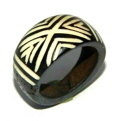100% Natural Bone Carving Designer Handmade Fashion Jewelry Ring Size 9 R728