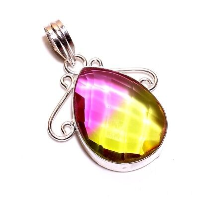 Faceted Multi Tourmaline .925 Silver Charming Pendants Jewelry R1306-R1339