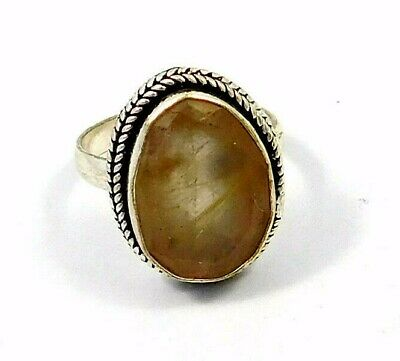 Charming Golden Needle Rutile Silver Designer Jewelry  Ring Size 7.50 JC9058