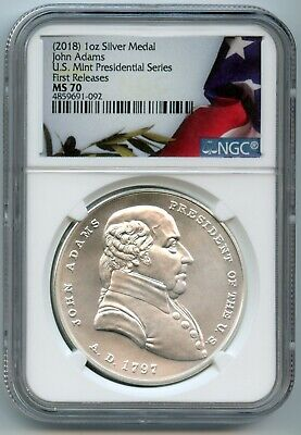 2018 SILVER MEDAL JOHN ADAMS 1oz PRESIDENTIAL NGC MS70 FIRST RELEASES 4859691092