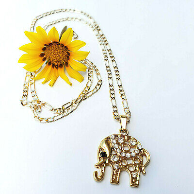 Woman Elephant pendant and chain. Gold Plated. Luck, fortune and protection.