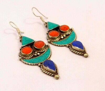 Turquoise , Lapis & Coral .925 Silver Plated Handmade Earring Jewelry JC6545