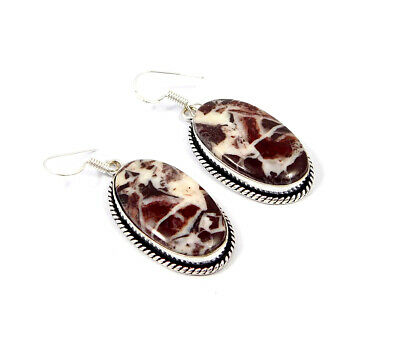 Red Banded Agate .925 Silver Plated Handmade Earring Jewelry JC8520
