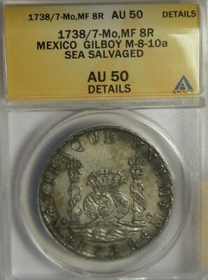1738/7 MF 8 Reales:   Rooswijk Wreck 1739:   ANACS AU50:   Mexico City Mint
