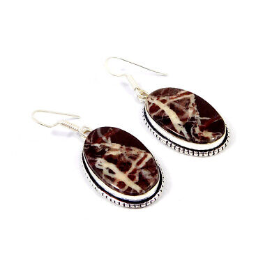 Red Banded Agate .925 Silver Plated Handmade Earring Jewelry JC8523
