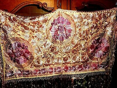 antique  Silk hand embroidered wall hanging or throw Matyo