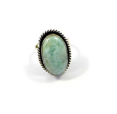 Caribbean Larimar .925 Silver Plated Handmade Adjustable Ring Jewelry JC8818