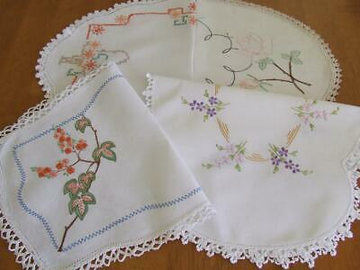 Four Large Vintage Hand Embroidered Centres - Various Designs-Crochet/Lace Edges