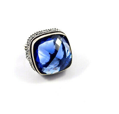 Tanzanite Quartz .925 Silver Plated Carving Ring Size-9 Jewelry JC8811