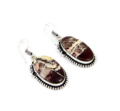 Red Banded Agate .925 Silver Plated Handmade Earring Jewelry JC8522