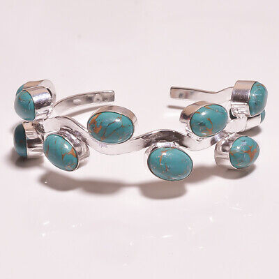 Turquoise .925 Silver Plated Handmade Bangle Cuff Jewelry R47