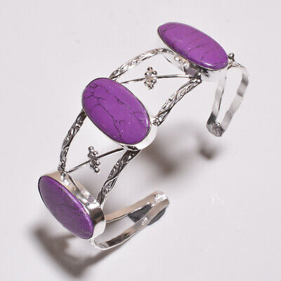 Purple Copper Turquoise .925 Silver Plated Handmade Bangle Cuff Jewelry P7