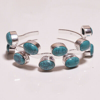 Turquoise .925 Silver Plated Handmade Bangle Cuff Jewelry R30