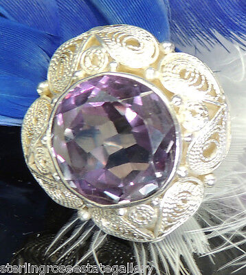 "12 mm Alexandrite Vintage 7/8"" Hand Wrought Sterling Silver .925 Ring adjustable"