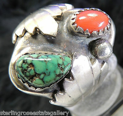 "Men's 1"" Turquoise & Coral Hand Wrought 0.925 STERLING SILVER Band Ring size 9.5"