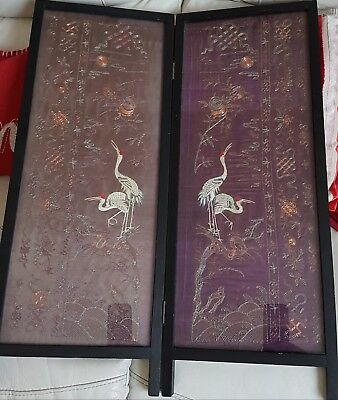 Chinese late 1900s Qing dynasty fine silk sleeved framed screen.