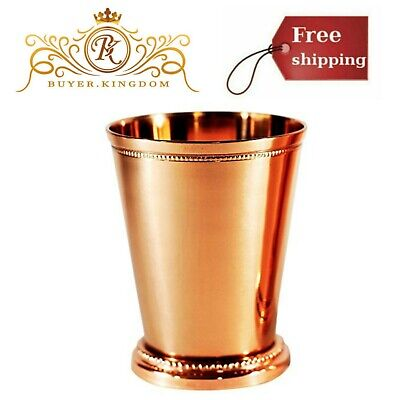 Home Elegant Copper Moscow Mule Mint Julep Drinking Beverage Cup Beaded Edging