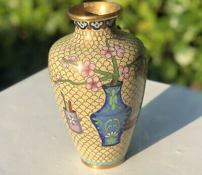 Antique Brass Cloisonne Enamel RARE Oriental Flower Floral Decorated Vase