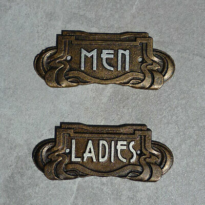 Toilet Signs Men Ladies Art Nouveau Antique Bronze Effect Cast Iron 18.5cm