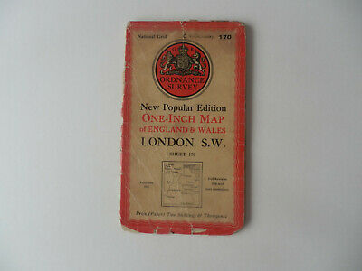 Ordnance Survey One-Inch Map, London Sw, Sheet No 170, 1945 Edition