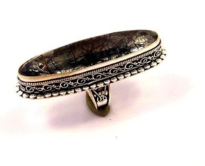 Black Needle Rutile .925 Silver Plated Handmade Ring Size-6.75 Gift JC6775