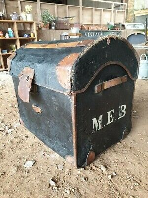 leather and bamboo domed top trunk/chest vintage