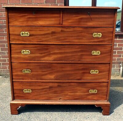 Large Victorian antique solid mahogany campaign military chest of 6 drawers