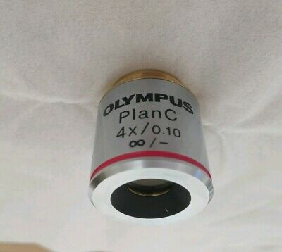 Olympus Microscope Objective Lens Plan C 4x /0.10 Infinity for CX BX Series etc.