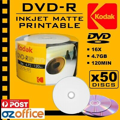 PREMIUM 50 x KODAK DVD-R 16x Inkjet Printable Blank DVD Discs - Print to Center