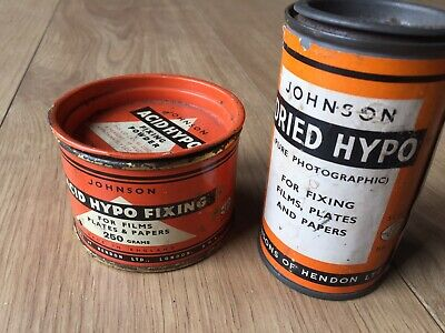vintage Advertising photographic Tins equipment Dried Hypo & Acid Hypo Fixing.