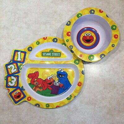 Sesame Street Divided Plate & Bowl Set Elmo & Cookie Monster - The First Years