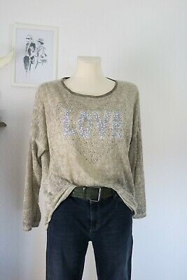 DAMEN ITALY SHIRT STRETCH TUNIKA BAUMWOLL MIX SILBER METALLIC SNAKE PRINT S//M//L
