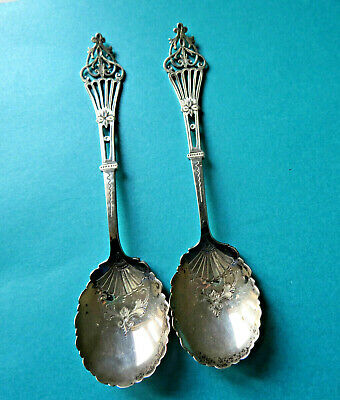 Pair,beautiful 1909 Dated,sterling Silver Serving Spoons By J.dixon.sheffield.