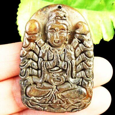 J73261 Carved Chinese Old jade Hand-made Pendant Bead 48x33x8mm