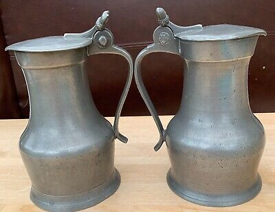 Pair of vintage French-style pewter flagons, acorn finials on lids