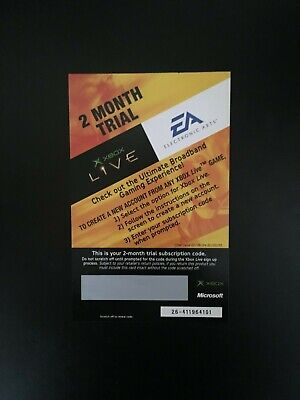 Xbox Live 2 Month Trial Subscription Scratch Card - Very Rare Collectable - Mint
