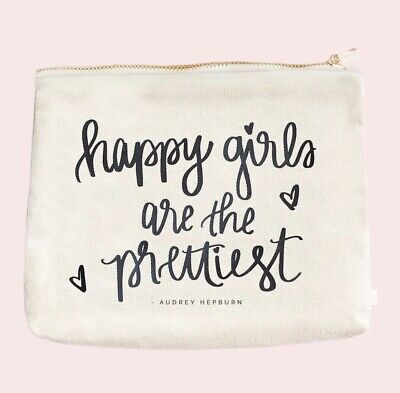 Happy Girls are the Prettiest Audrey Hepburn Make-Up Bag canvas