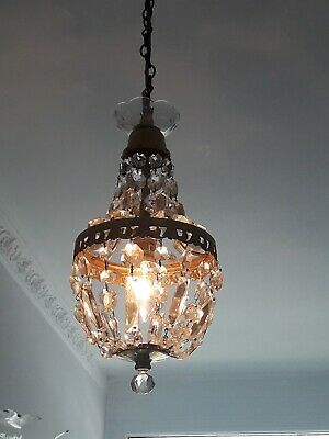 Vintage Brass & Glass Crystal Chandelier. Tent & Bag French Sac A Perle Style