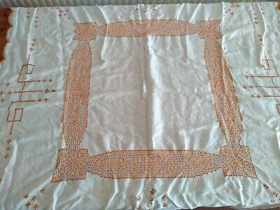 Square Vintage Linen Cream Tablecloth With Openwork And Orange Embroidery