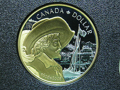 2008 400th Anniversary of Quebec City Canadian Gold Plated Silver Coin