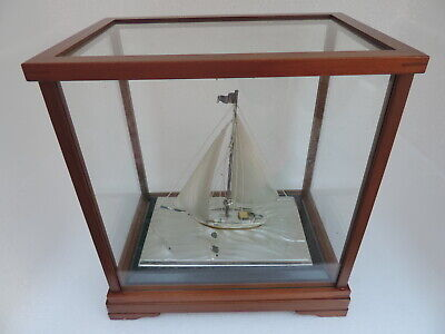 Masterly Hand Crafted Vintage Solid Sterling Silver Japanese Yacht Ship Sailboat